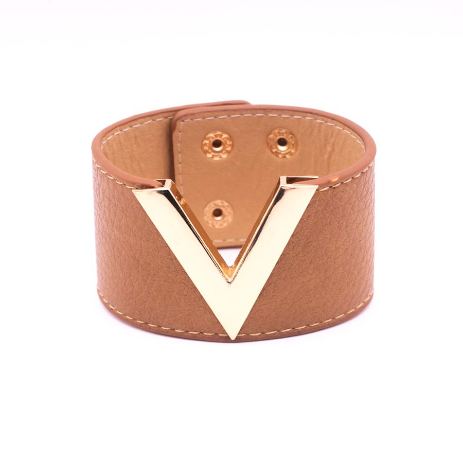 Rainbery Europe And The Big PU Leather Bracelet Simple All-Match MS OL V Word Wide Leather Bracelet 2017 New Hand Jewelry