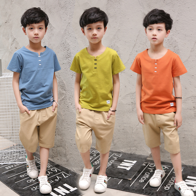dc1c077d6b22 2PCS Suit Baby Boy Clothes Children Summer Toddler Boys Clothing Set 2018  New Kids Fashion Cotton Pockets Sets Outwear O-Neck