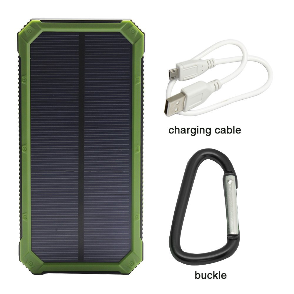 Portable PowerGreen Keychain Solar Charger 15000mAh Solar Power Bank Outdoor Cell Phone Battery Backup Pack