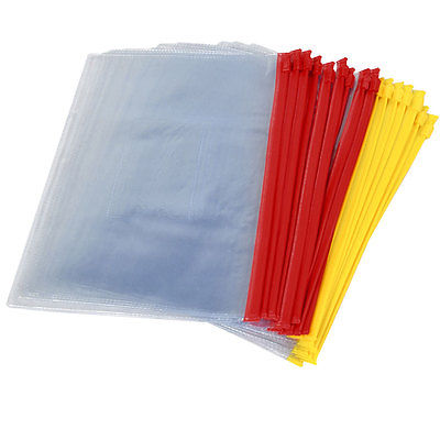 20PCS Red Yellow Clear Plastic Slider Zip Lock Bags Files Holder For A5 Paper