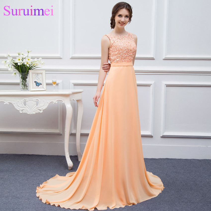 Long Chiffon Bridesmaid Dresses Peach High Quality Lace Backless ...