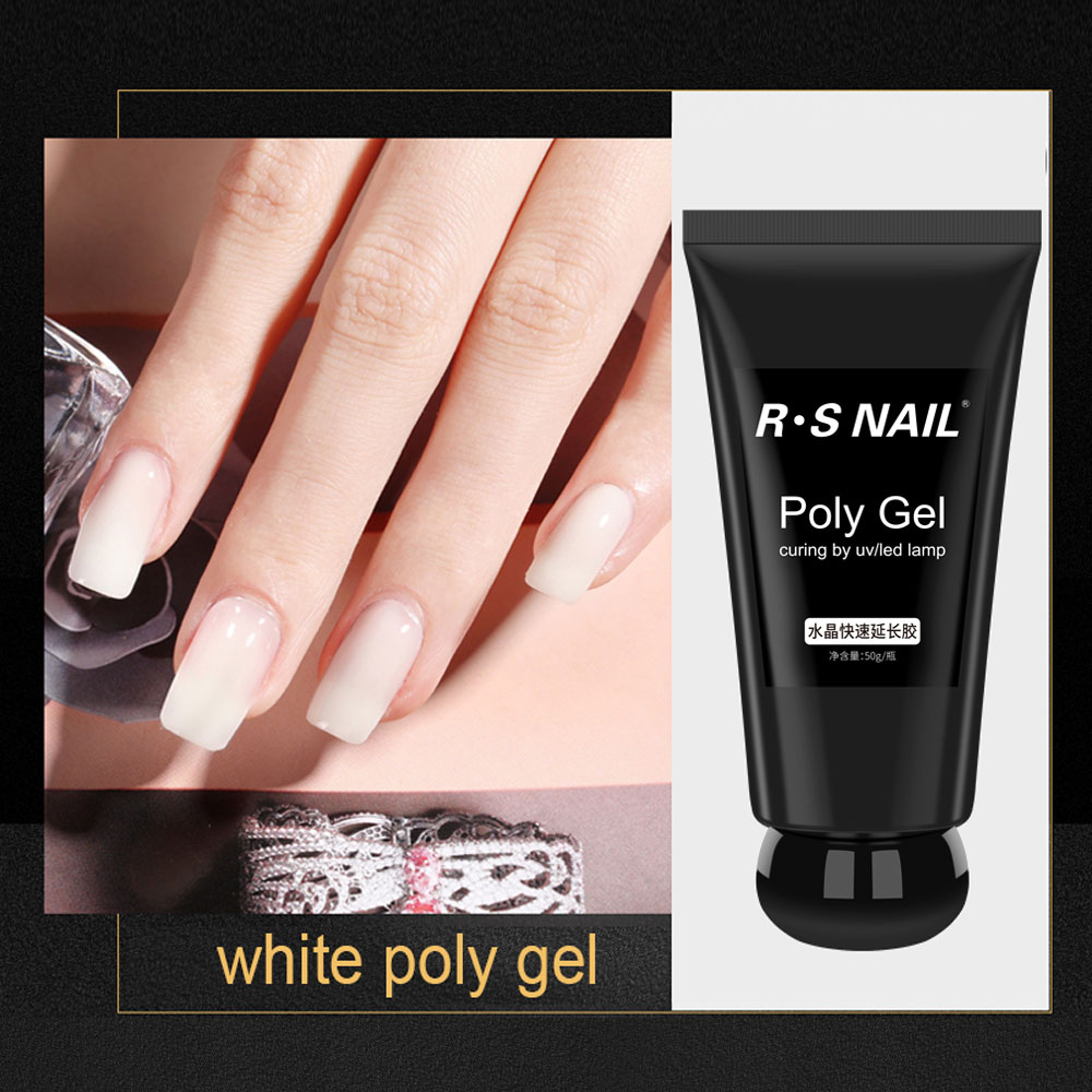 RS Nail Poly Gel for nail extensions 50g Builder gel UV/LED Quick gel for building Nail Polish Brush Nail Art Tips 6 colors