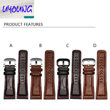 2016 new arrived high quality genuine leather  28mm  ostrich feet leather watchband for P1 p2 M1 with stainless steel buckle