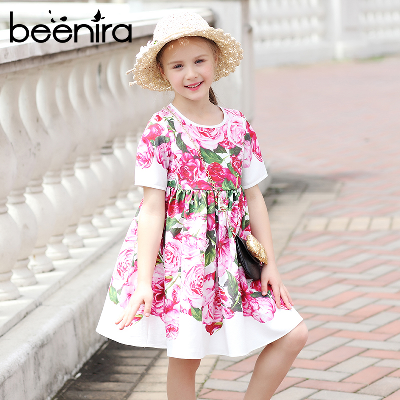 Princess Girl Party Dress 2018 Brand Girls Dresses Rose Floral Printed Kids Dress for Girls Clothes European and American Style european and american fashion girls cotton dress summer girl party princess dress pleated polka dot kids dresses for girls 5 12y