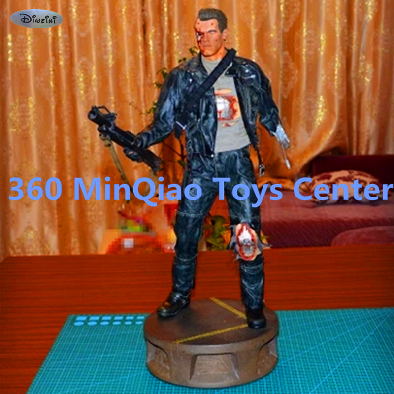Statue Terminator 1:2 T2 Bust Schwarzenegger T-800 Full-Length Portrait Battle Damaged Action Figure Collectible Model Toy WU872 god of war statue kratos ye bust kratos war cyclops scene avatar bloody scenes of melee full length portrait model toy wu843