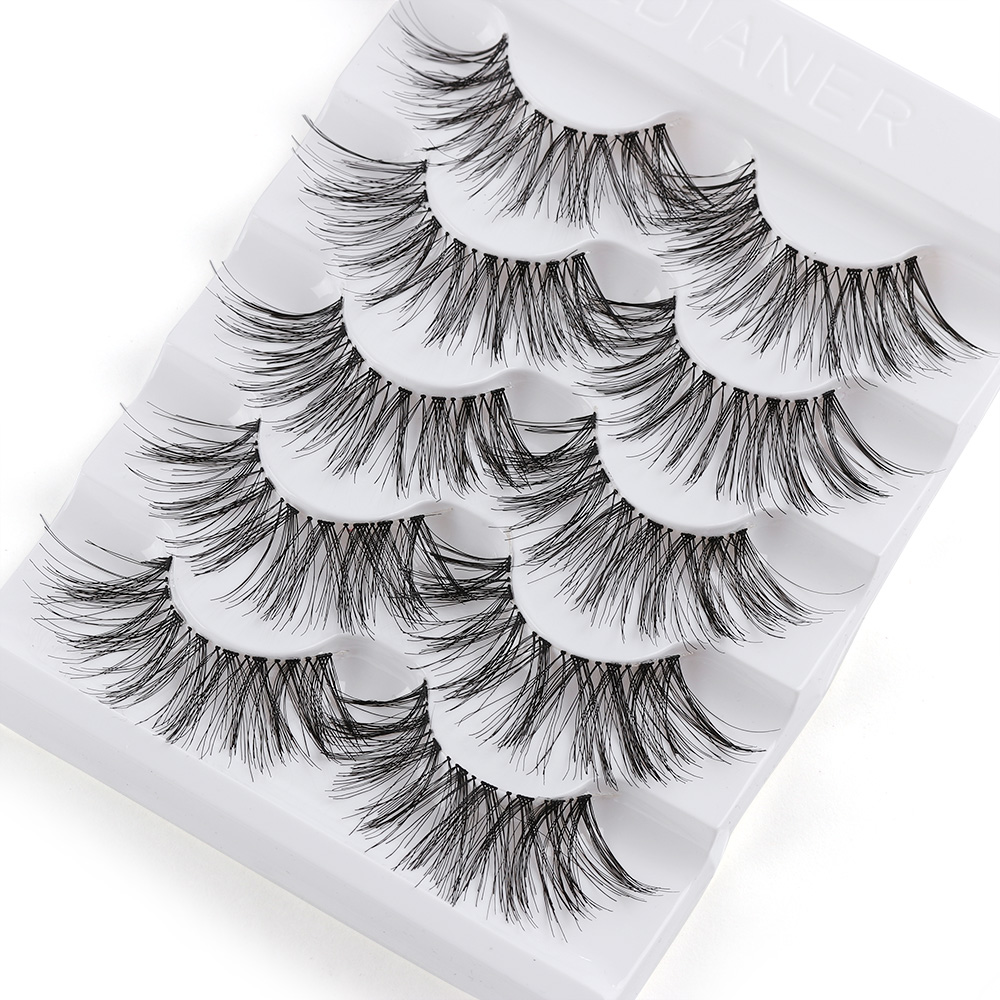 5 Pairs Long Wispy False Eyelashes Black Cross False Eyelashes Full Strip Lashes Handmade 3D Natural Eye Makeup Tools