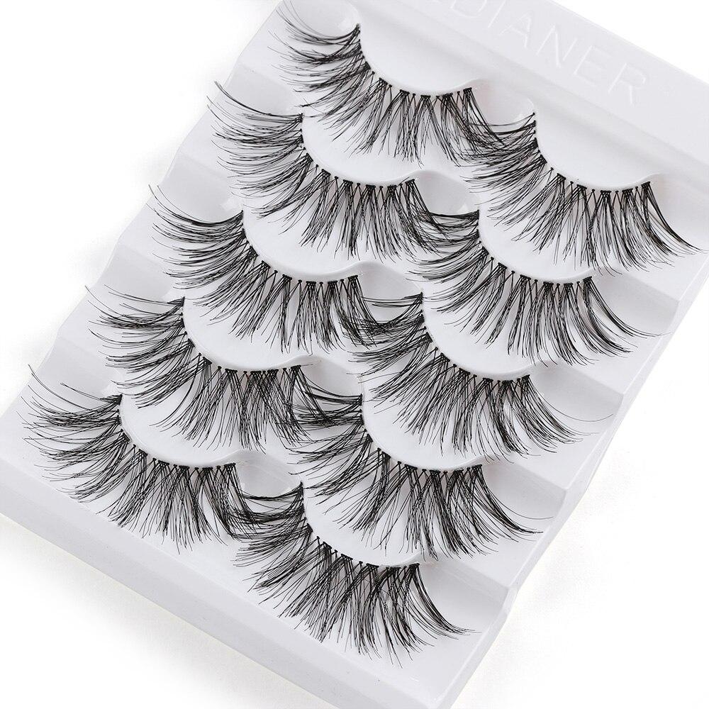 5 Pairs Long Wispy False Eyelashes Black Cross False Eyelashes Full Strip Lashes Handmade 3D Natural Eye Makeup Tools
