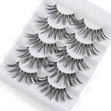 5 pares longo wispy cílios postiços preto cruz cílios postiços tira completa cílios artesanais 3d natural ferramentas de maquiagem para os olhos