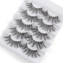 5 Pairs Long Wispy False Eyelashes Black Cross False Eyelashes Full Strip Lashes Handmade