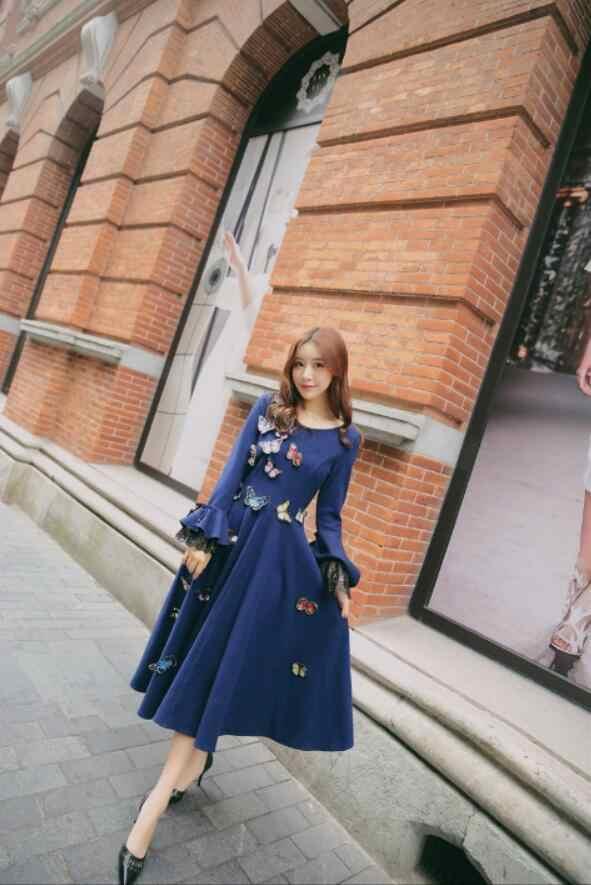 Nouvelle haute qualité Explosions loisirs Vintage couleur correspondant robes femmes broderie printemps été tenue décontractée