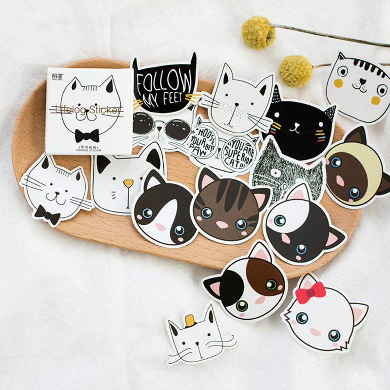 Creative many cute black and white cat PVC stickers photo album decorative Sealing sticker font b