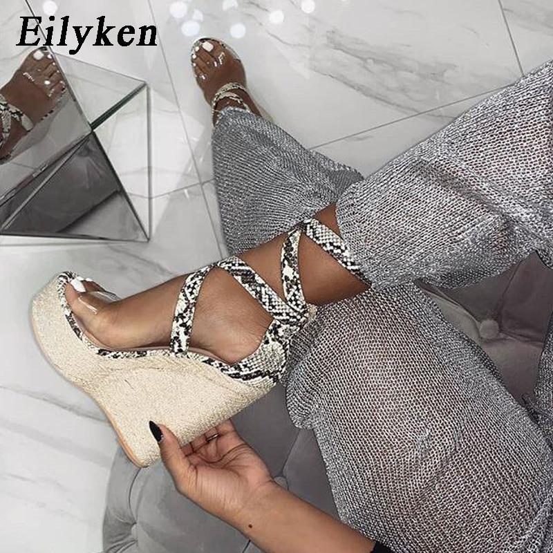 Eilyken/летние женские сандалии на платформе, Гладиатор модные туфли на высоком каблуке танкетке Эспадрильи обувь женские Босоножки с открытым носком под змеиную кожу