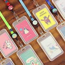 1Pcs Cute Cartoon Animals Transparent ID Badge Case Clear Card Holder with Lanyard Bank Credit Card Holders ID Badge Holders new transparent id card holders and certificates case for admission quality pvc card badge holder work id cover without lanyard