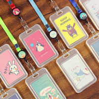 1Pcs Cute Cartoon Animals Transparent ID Badge Case Clear Card Holder with Lanyard Bank Credit Card Holders ID Badge Holders