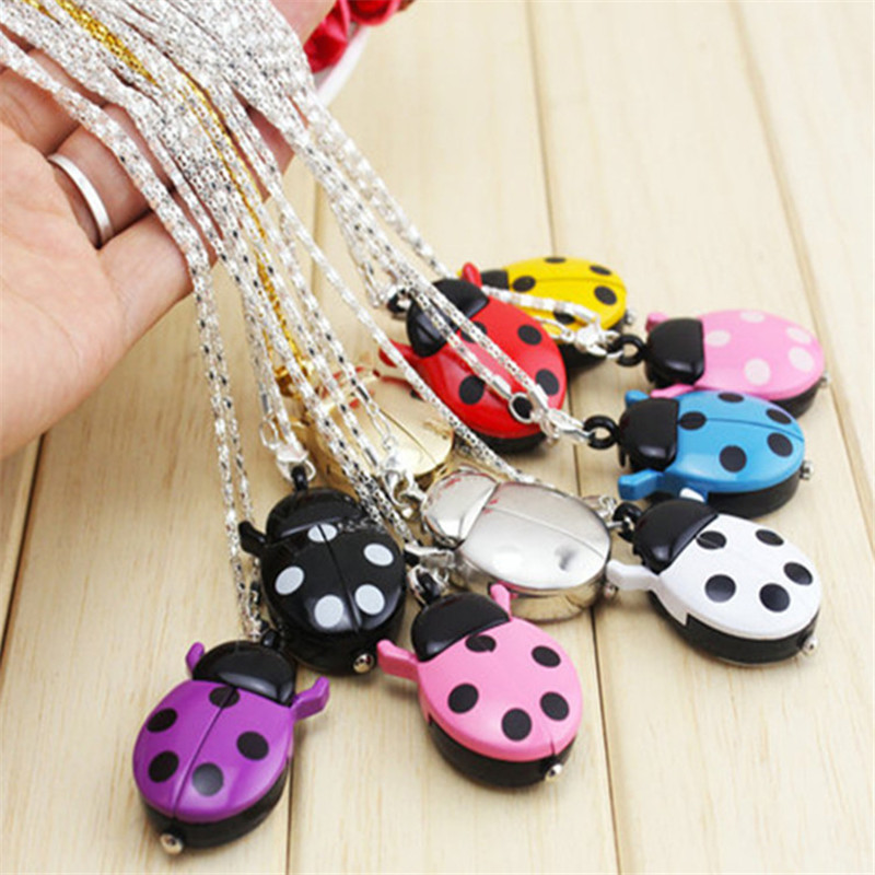 Fashion Retro Unisex Vintage Double Open Beetle Ladybug Owl Pendant Necklace Multicolor Pocket Watch Gift Quartz Watch Clock