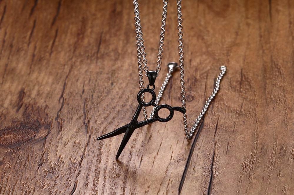 Fashion Jewelry Men or Women Barber Hair Dresser Scissors Shears Stainless Steel Pendant Necklaces Unisex Black 15