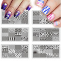 1pcs Geometric Theme Nail Stamping Plates 6x12cm Stainless Steel Flower Nail Art Stamp Template Manicure Nail Tools XYP01-16