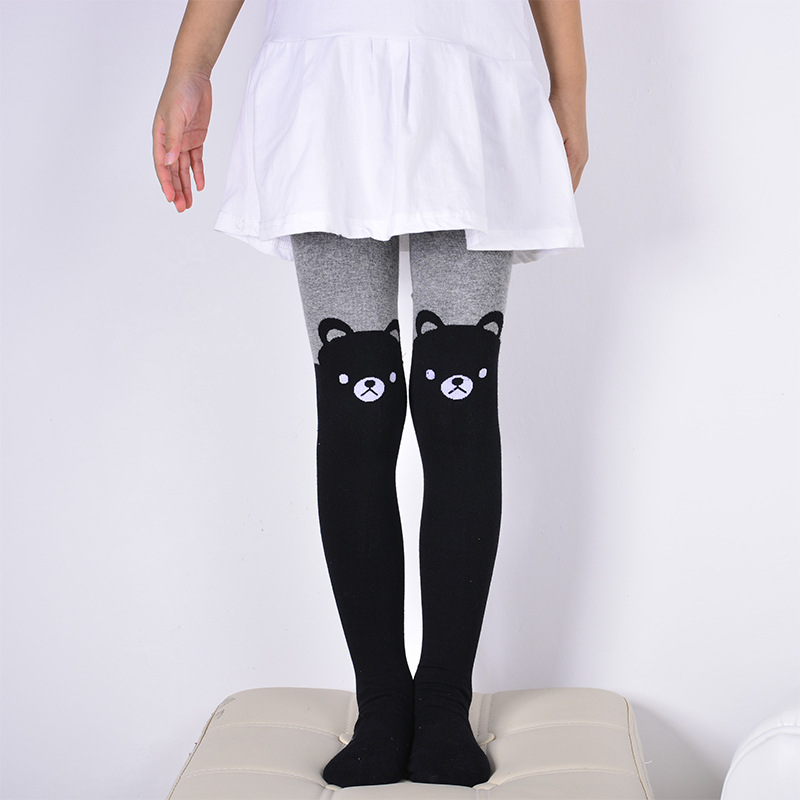 DreamShining Spring Baby Girls Tights Cartoon Cat Patchwork Children Girl Pantyhose Stockings Soft Cotton Kids Warm Tights ...