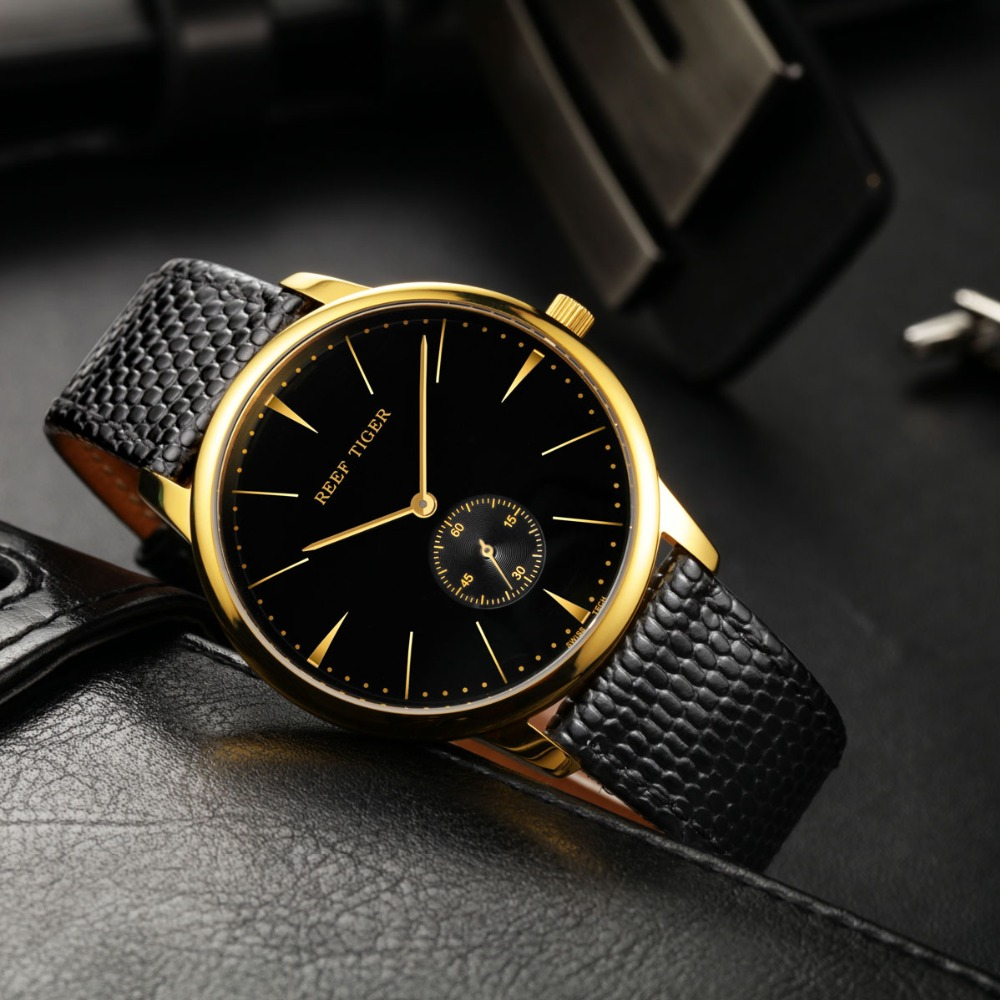 Reef Tiger luxury brand watches reloj mujer Swiss Classic clock men Vintage Quartz wristWatch Ultra Slim Design relogio feminino