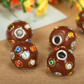 10pc/lot 16mm Clay Round Nepalese Indonesian Tibetan Spacer Beads With Big Hole For Bracelet Necklace Jewelry Making Accessories