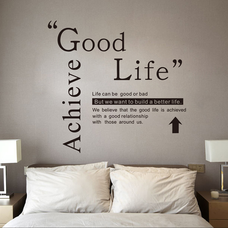 good life quote wall decals vinyl stickers home decor creative mural removable wall sticker for. Black Bedroom Furniture Sets. Home Design Ideas