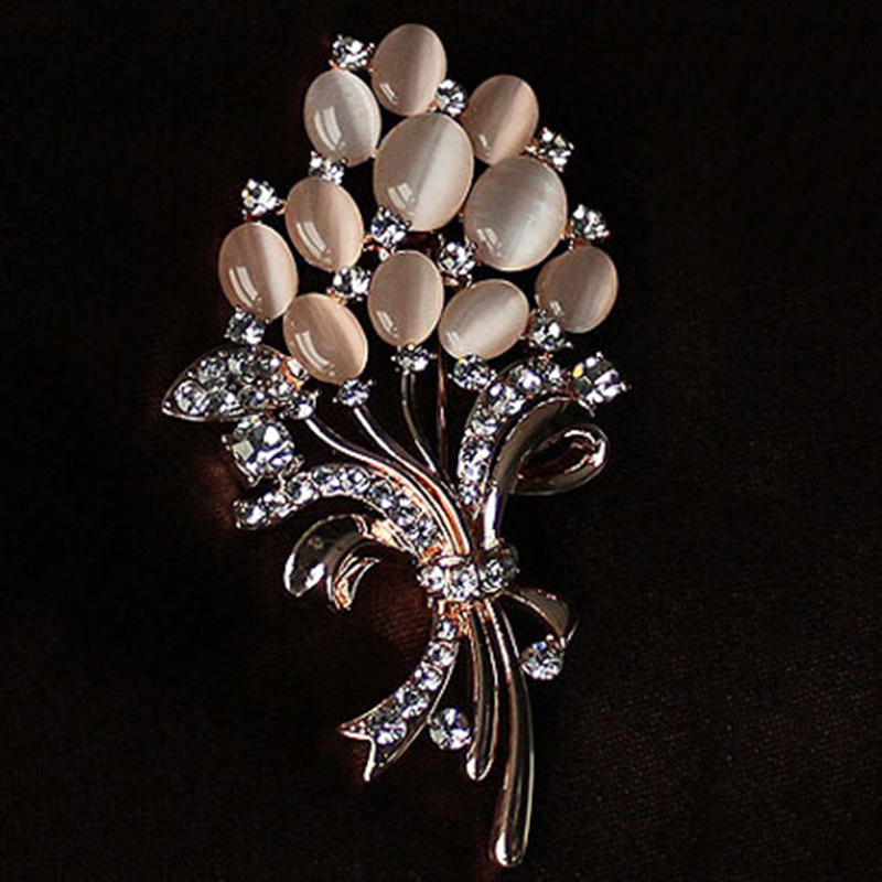 Charming New Opal Rhinestone Brooches For Women Vintage Fashion Female Jewelry Gold  Plated Opal Flower Brooch Broches Pins Mujer   Deal Of The Day Deal Of The  Day