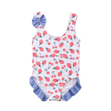 One Piece Swimsuit Floral Newborn Kids Baby Girl Swimwear One-piece Bathing Beachwear Bodysuits Cotton O-neck