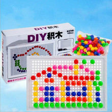 цена на Creative Mosaic Mushroom Nail  Puzzle Toys Educational Toy Nail Composite Picture Puzzle Toy Gift for Children  96pcs