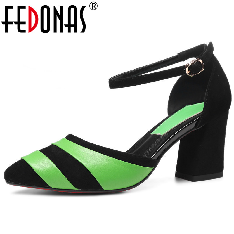 FEDONAS 2019 women casual pumps cow leather and suede leather combination Sexy female high heels fashion rome buckle shoes womanFEDONAS 2019 women casual pumps cow leather and suede leather combination Sexy female high heels fashion rome buckle shoes woman