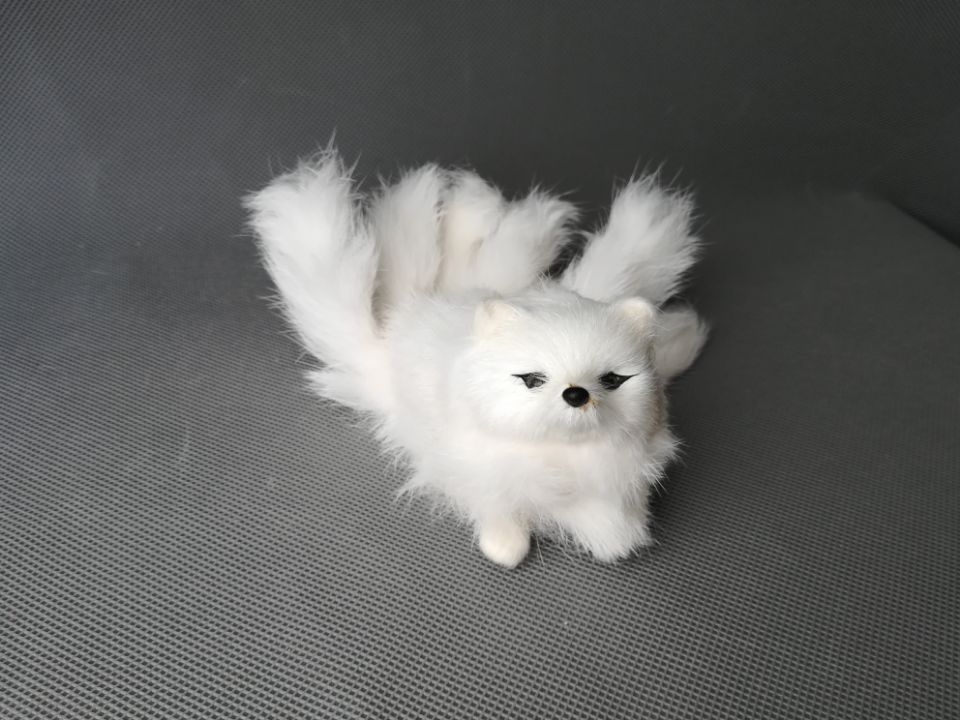 about 16x8cm white fox with nine tails, plastic&fur fox hard model craft home decoration toy gift s2199 image