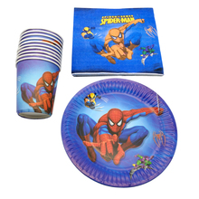 60pcs/lot Baby Shower Spiderman Theme Towels Decorate Cups Birthday Party Napkins Plates Kids Boys Favors Dishes Glass Tableware