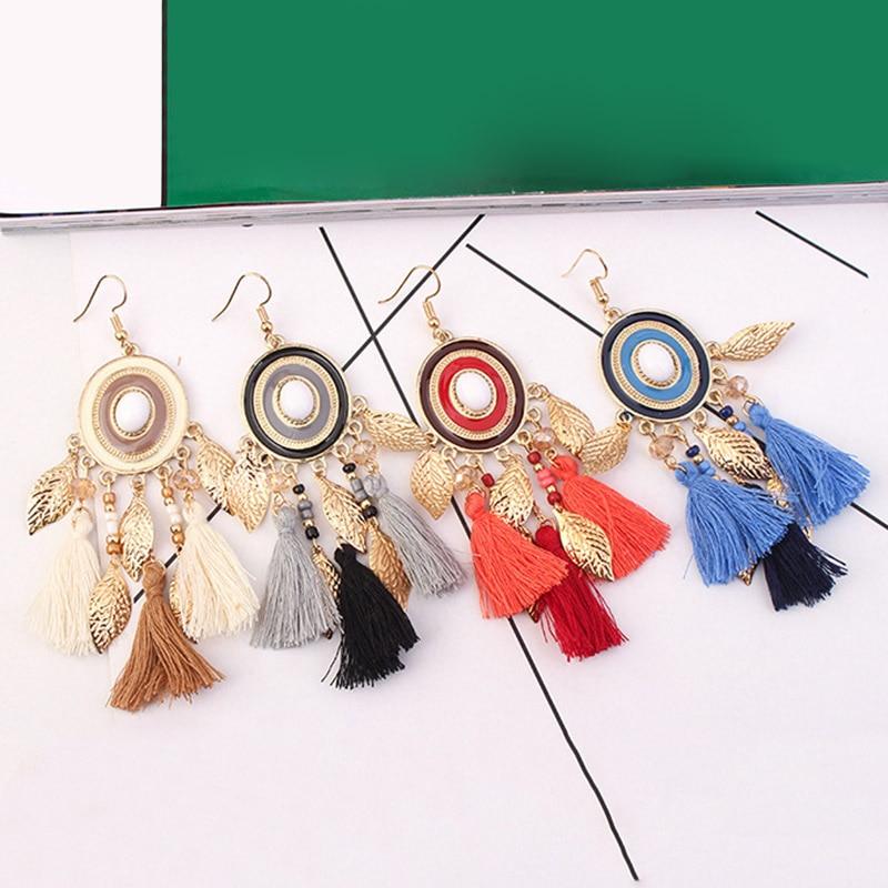 KLEEDER Gold Leaves Fringe Earrings Disc Dangle Drop Tassle Tassel EarringsBohemian Long Cotton