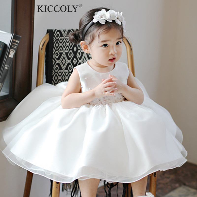 96f9a4454eab Newborn Tulle Gown Baby Girl Christening Dress Summer Beads Bow 1 Year  Birthday Infant Outfits Baptism Party Wedding Dresses