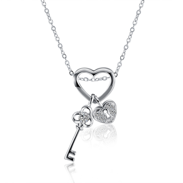 in lock heart gold key over and silver pendant love sterling