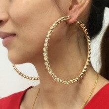 Luxury Wedding 97mm Diameter Big Crystal Hoop Earrings For Women Rhinestones Statement Brincos Jewelry UKMOC