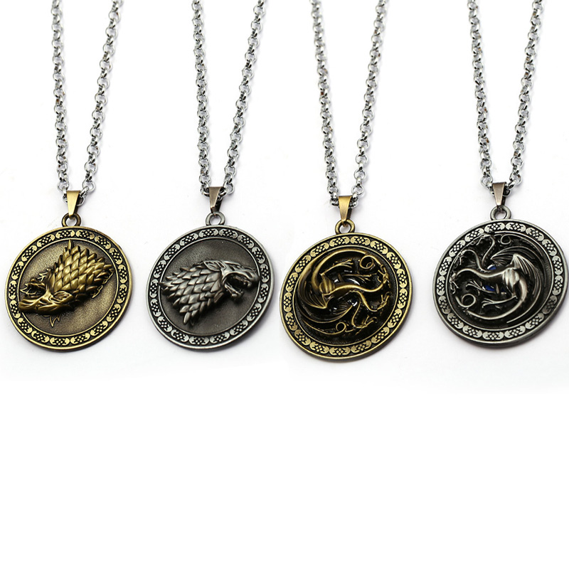 Game Of Thrones Necklace House Stark Link Chain Pendants Wolf Targaryen Dragon Badge Met ...