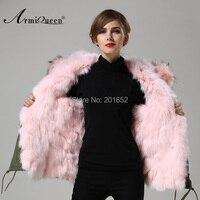 Facebook Instagram 100% натуральная енот розовый Мех животных воротник пальто Куртка верхняя одежда,свитер дам с Лисий Мех Лайнер моды