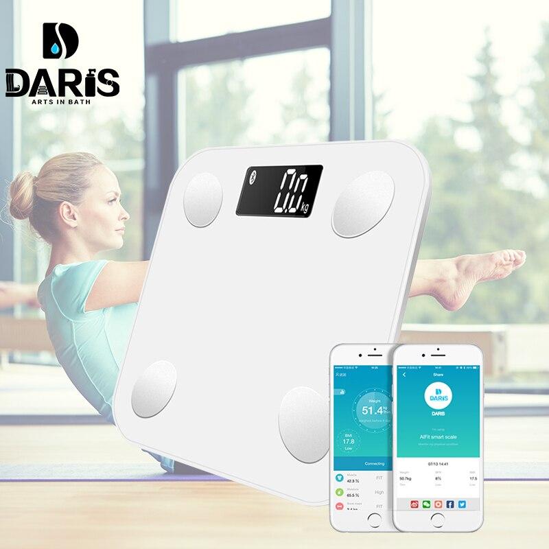 SDARISB Bluetooth escalas de peso corporal Báscula de baño inteligente pantalla retroiluminada escala Peso corporal grasa corporal agua masa muscular IMC