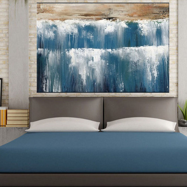 Hand Painted Art Set Water Fall Landscape Modern Abstract Canvas Oil  Painting For Living Room Bedroom