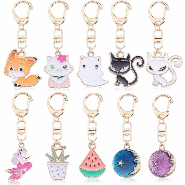 Anime Cartoon Cat Key Chains For Girl Women Cute Fox Mermaid Watermelon Pendants Key Ring Bag Pendant Lovely Jewelry Child Gifts