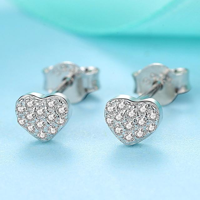 Trendy Push-Back Heart Shaped Sterling Silver Stud Earrings