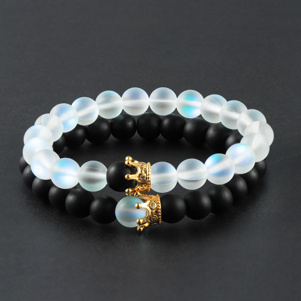 1set Trendy Natural Moonstone Beads Bracelets Men Jewelry Charm Golden Crystal Crown Bracelet For Women Bangles Couples Jewelry