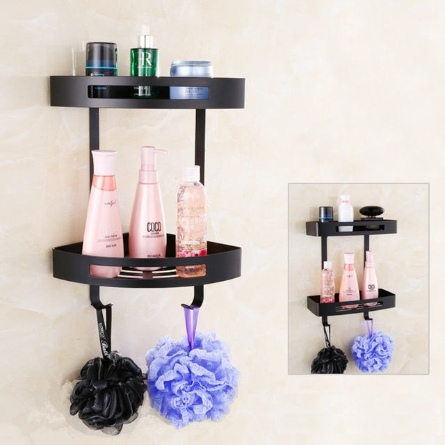 US $45.36 19% OFF MTTUZK 304 edelstahl badezimmer eckregal zwei schichten  dusche rack für duschgel flasche wand montiert schwarzen Regalen in MTTUZK  ...