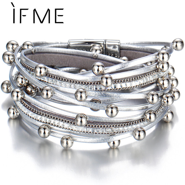 IF ME Fashion Multiple Layers Charms Beads Leather Bracelets & Bangles for Women Men Punk Silver Color Female Jewelry 2018 New