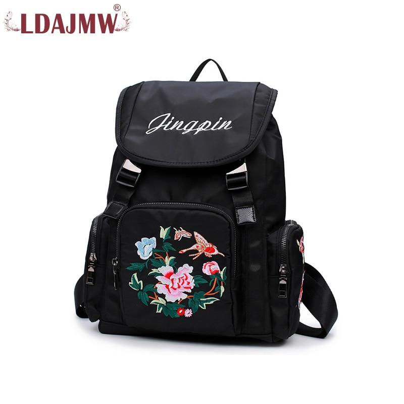 LDAJMW Flowers Plants Embroidered Fashion Both Shoulders Package Tourism women backpack Girls Travel Back Pack Mochila Feminina