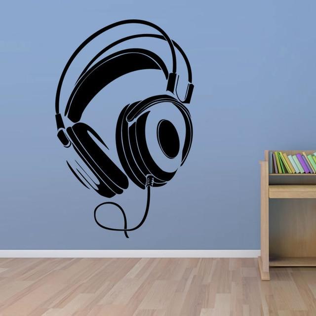 Captivating POOMOO Wall Decals Music DJ Headphones Wall Stickers Boys Room Wall Decor  Vinyl Decals Fashion Design Part 28