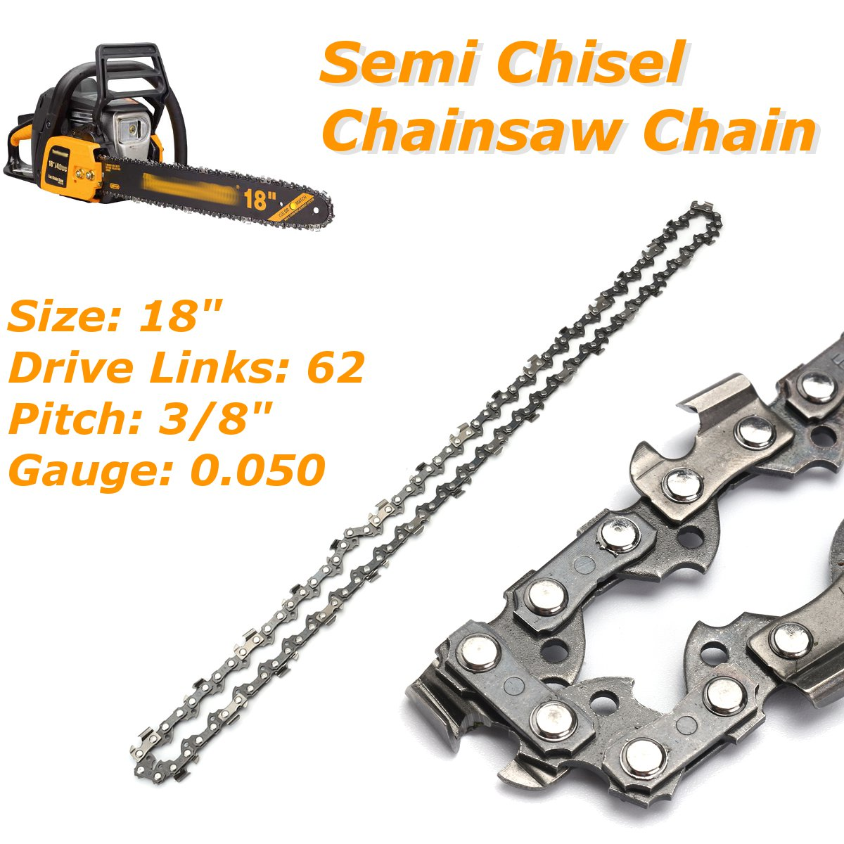 18 Inch 3/8 Semi Chisel Chainsaw Chain Blade For Poulan Homelite Lectric Saw For Homelite Poulan Pro And Other Models