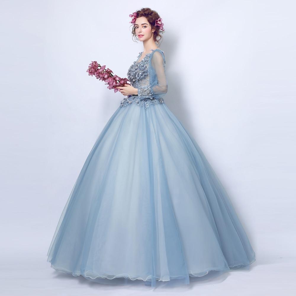 Angel Wedding Dress Marriage Bridal Gown 2017 Prom Deep v neck blue ...