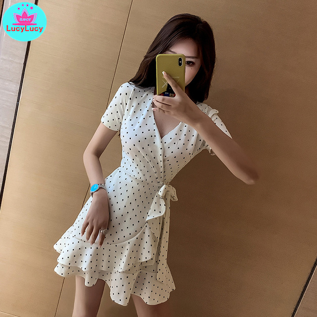 2019 summer female new Japanese sweet wave point small dress Knee-Length  V-Neck  Sheath  Regular
