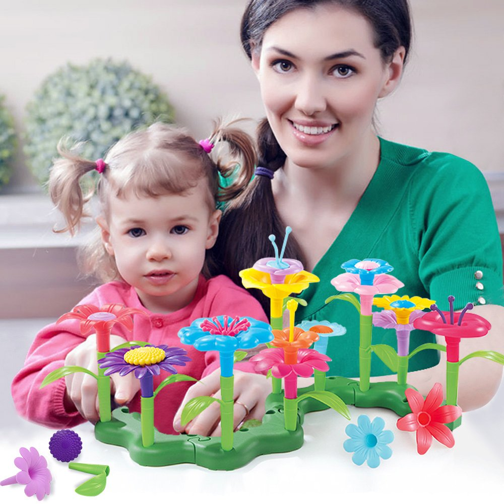 Build and Bloom Children Green Toy DIY Creative Flower Set 46 pcs Preschooler Learning Building Block Kits in Other Occupations Toys from Toys Hobbies
